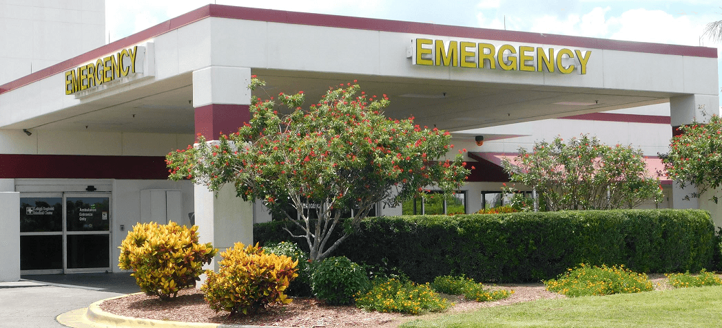 Exterior image of the emergency entrance.